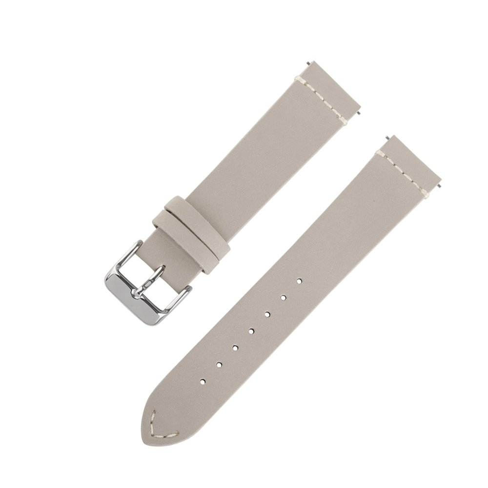 Ivystore Watch Strap 18mm 20mm 22mm SOFT Nubuck Top Grain Genuine Leather Sport Watch Strap Smart Watch Band with Quick Release Spring Bar Bonus With Steel Buckle (20mm, Grey)