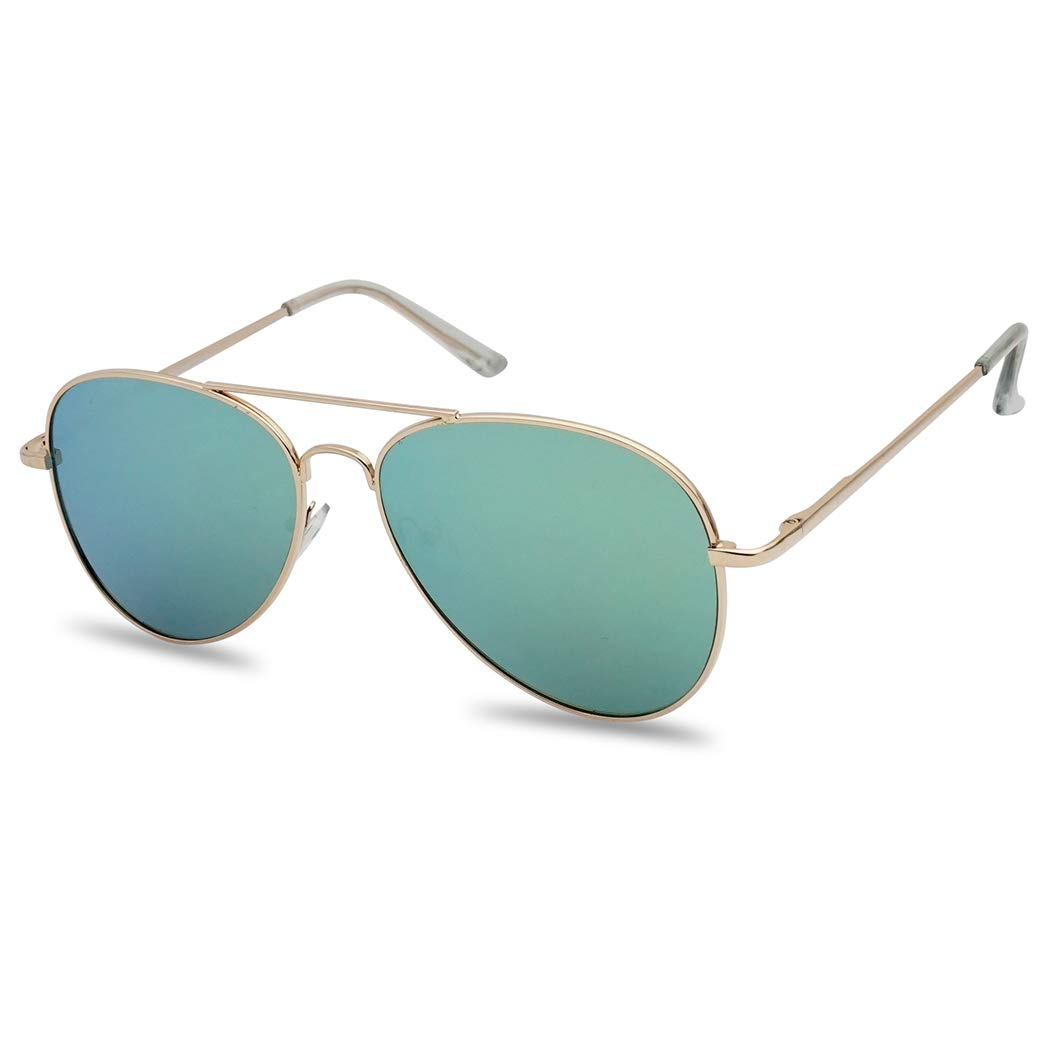 Classic Full Metal Teardrop Flat Lens Color Mirrored Retro Aviator Sun Glasses (Gold Frame, Jada Green) by SunglassUP