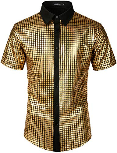 JOGAL Men's Dress Shirt Sequins Button Down Shirts 70s Disco Party Costume X-Large A353 Gold -