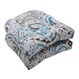 Pillow Perfect Indoor/Outdoor Paisley Wicker Seat Cushion, Tidepool, Set of 2 Review