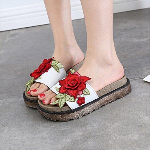 Fuera arrastrar A las palabra con B LIXIONG una UK4 Color moda femeninas Portátil Zapatos bordadas Tamaño gruesas sandalias CN36 de En de pendiente Zapatillas la moda EU36 de qwYp7O