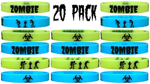 20 pcs Zombie Glow in The Dark Wristband Party Favors, Halloween Goody Bags, Trick or Treat (Zombie/Glow, Kids)]()