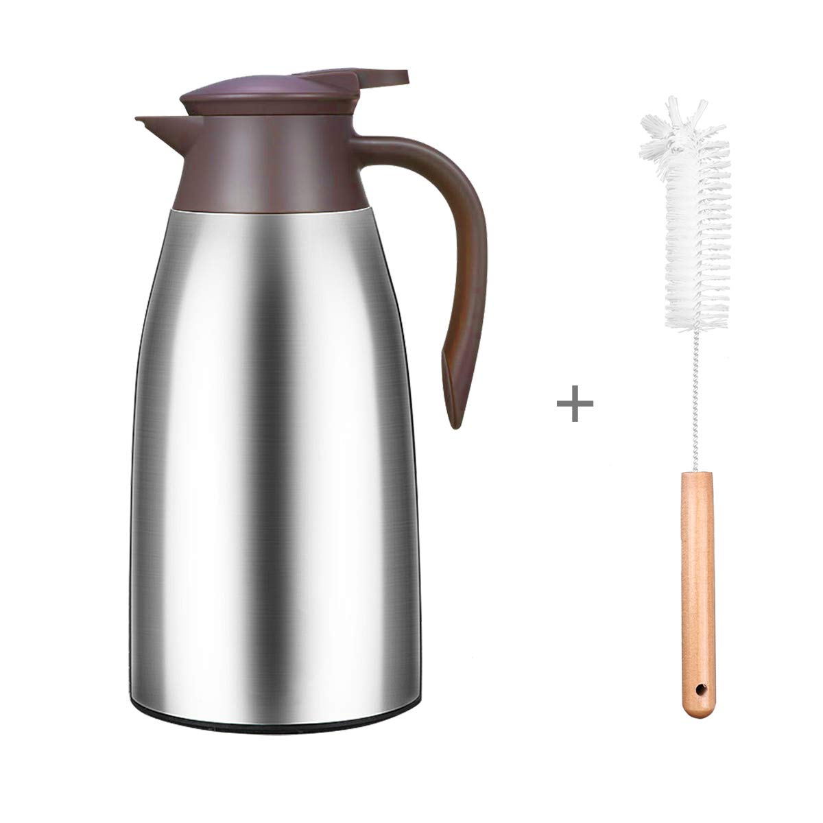 68 Oz Stainless Steel Thermal Coffee Carafe with Free Brush, Double Walled Vacuum Thermos Pot for Coffee, Tea and Hot Water, 2 Litre