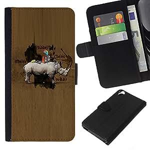 KLONGSHOP // Tirón de la caja Cartera de cuero con ranuras para tarjetas - Modelo de madera Animal Hunter Marrón - HTC Desire 820 //