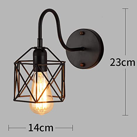 GYBYB American Iron lámpara de pared con pantalla negra vintage ...