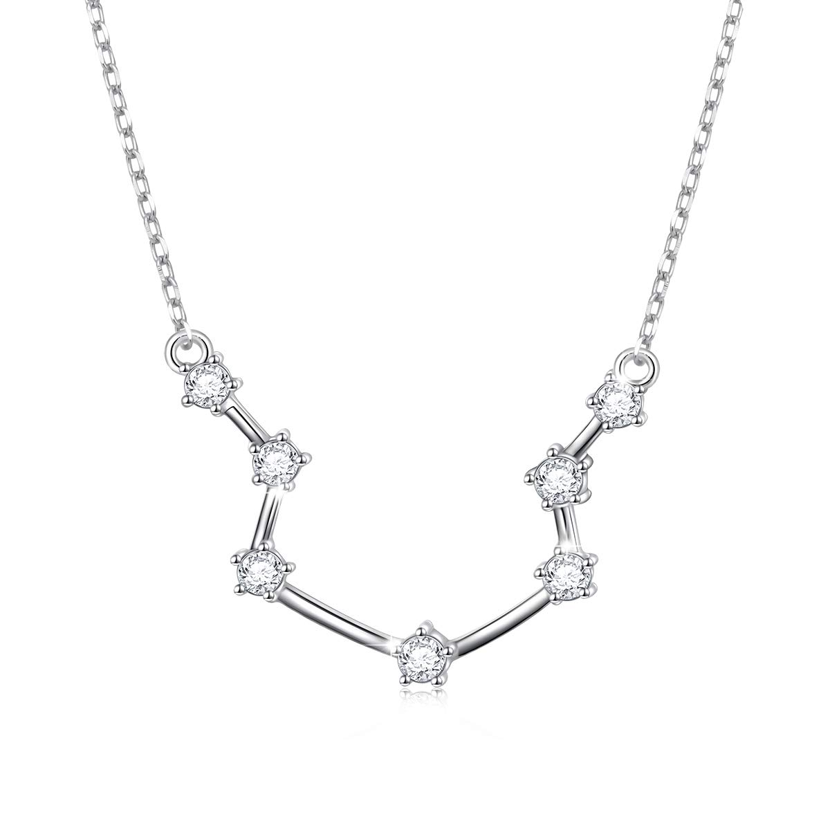 925 Sterling Silver CZ Astrology 12 Constellation Horoscope Sign Astrology  Zodiac Star Necklace Birthday Gifts for Women Girls,18-20 inch