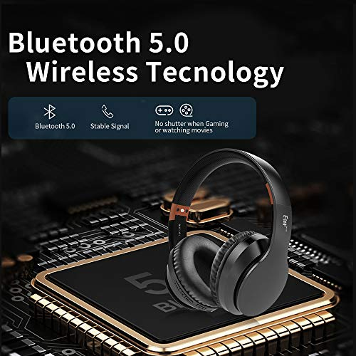 Bluetooth Headphones Over Ear, Comfortable Wireless Headphones, Rechargeable HiFi Stereo Headset, w/Wired Mode, CVC6.0 Microphone for Cellphone Online Class, Home Office, PC (Black)