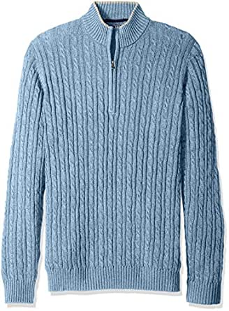 IZOD Men's Big and Tall Cable Solid 1/4 Zip Sweater, Ocean, Large Tall