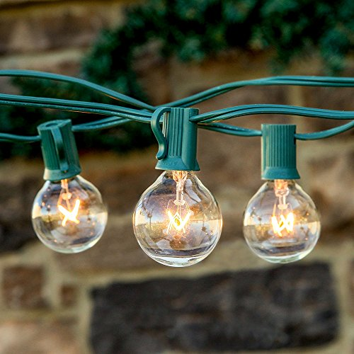 Moobibear 25ft Connectable G40 Globe Waterproof Patio String Lights for Indoor/Outdoor Commercial Decor, Wedding Lights, Backyard (Green wire) (Led Lights Connectable)