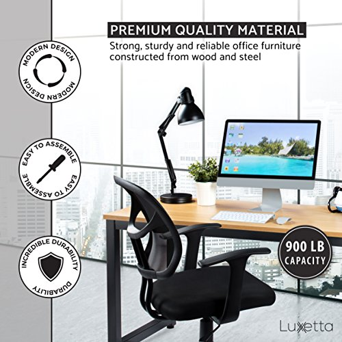 """Office Computer Desk – 55"""" Beige Laminated Wooden Particleboard Table and Black Powder Coated Steel Frame - Work or Home – Easy Assembly - Tools and Instructions Included – by Luxxetta"""