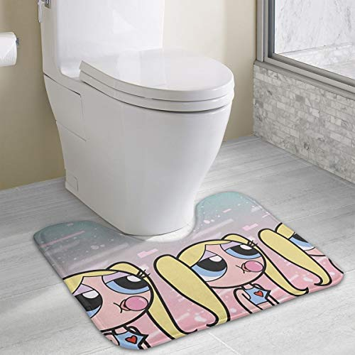 The Powerpuff Girls U-Shape Contoured Mat for Base of Toilet,15.8 X 19.3 Size, Hand Wash and Do Not Bleach,Soft Flannel Fabric Carpet Mats for Bathroom Toilets]()