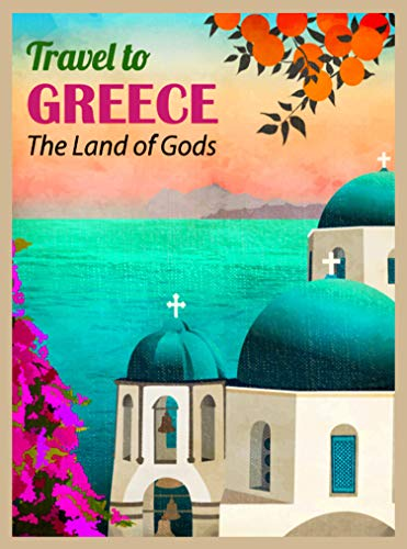 A SLICE IN TIME Travel to Greece Greek The Greek Isle Santorini Island Retro Travel Home Collectible Wall Decor Advertisement Art Poster Print. 10 x 13.5 inches
