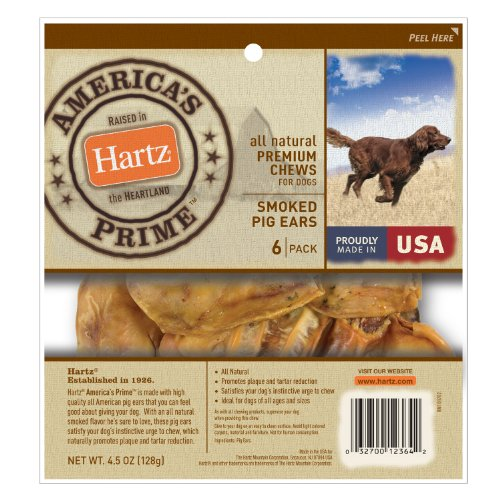 Hartz Americas Prime Smoked Pig Ears Dog Treat, 6-Pack, My Pet Supplies