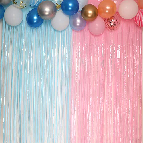Pastel Fringe Curtains 3.2 ft x 6.6 ft Baby Shower Gender Reveals Party Decoration Party Photo Backdrop (Pink/Blue)