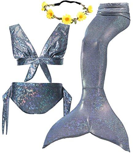 4Pcs Halloween Girl's Mermaid Tails Swimsuit Bikini Set Princess Swimming Bathing Suits Swimwear (Youth Medium (fits Like 5-6), E Silver)