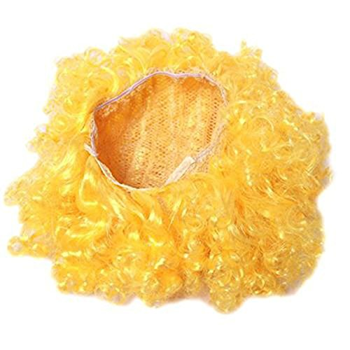 Yellow Clown Wig (Edtoy Afro Curly Party Disco Circus Fancy Dress Up Party Costume Clown Wig)