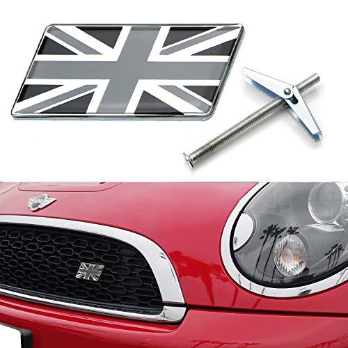 iJDMTOY Black/White Union Jack Flag Emblem Badge w/Grille/Mesh Mount Toggle Bolt Anchor For MINI, Jaguar, Land Rover, etc