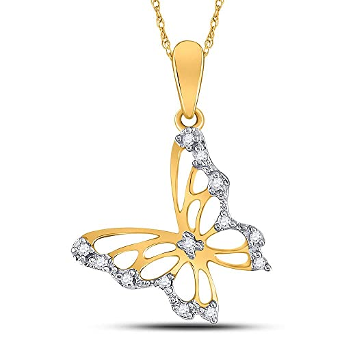 10kt White Gold Womens Round Diamond Butterfly Bug Pendant 1//12 Cttw