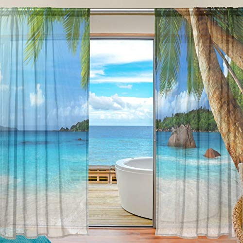 MAHU Sheer Curtains Tropical Sea Beach Palm Trees Window Voile Curtain Drapes for Living Room Bedroom Kitchen Home Decor 55x84 inches, 2 Panels
