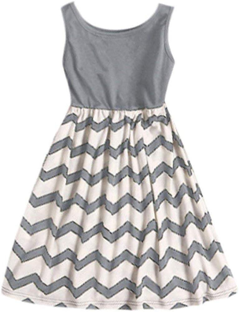 Fashion Toddler Baby Playsuit Little Girls Dress Sleeveless Wave Striped Print Sundress Summer Casual Long Dress