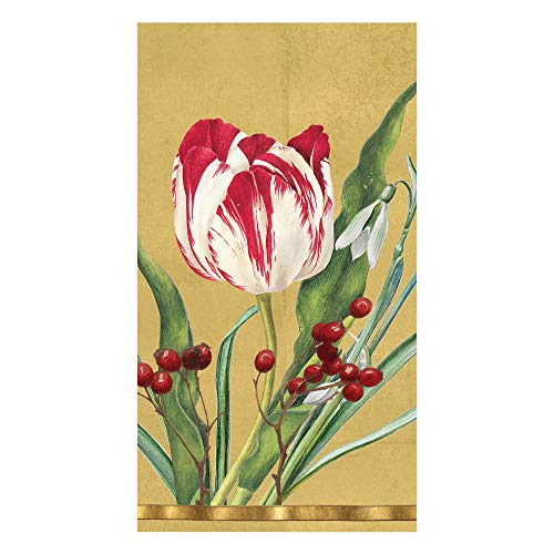 Caspari Guest Towels Paper Hand Towels Christmas Bathroom Decor Floral Decor Tulips Gold Pk 30