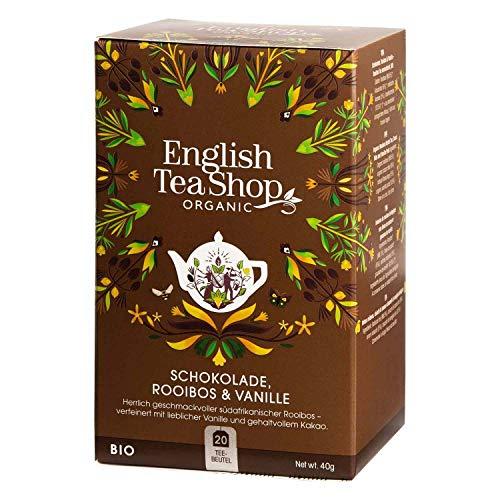 English Tea Shop Chocolate, Rooibos & Vainilla Organico Naturalmente Sin Cafeina / Rooibos Te organico con chocolate y vainilla Naturalmente sin cafeina Concesion de te Coleccion elegida a mano por Sri Lanka - 1 x 20 sobres (40 gram