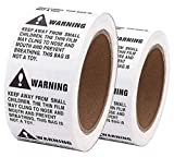 Shop4Mailers Warning Suffocation Labels 2'' x 2'' Rolls of 500 (48 Rolls)