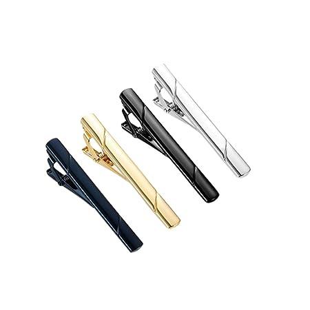X-DAAO - Juego de 4 Pinzas para Corbata, Color Negro, Plateado ...