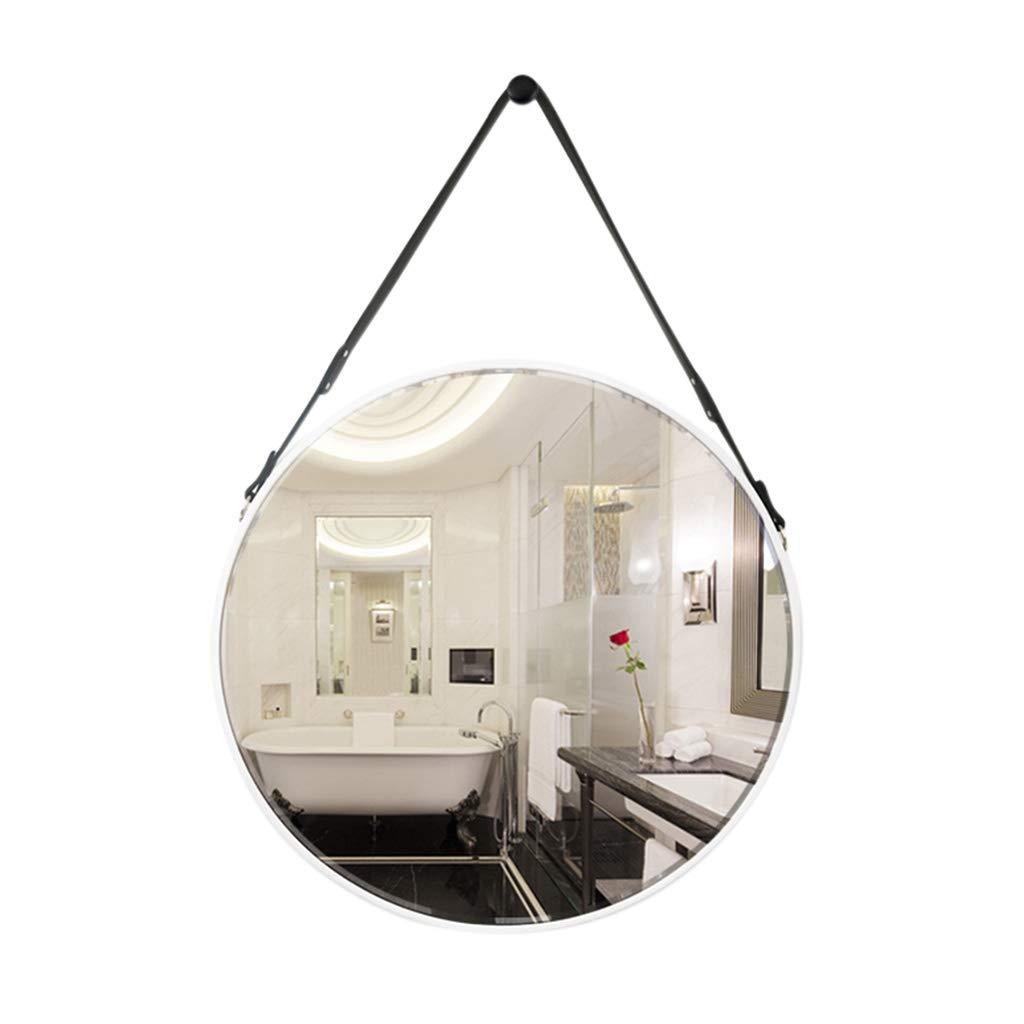 White Indoor Decorations Bathroom Mirror-Wall-Mounted Vanity Mirror-Modern Minimalist Round Mirror-Vanity Mirror Decorative Wall Mirror for Bedroom Bathroom Hotel 60 x 60cm  (color   White)