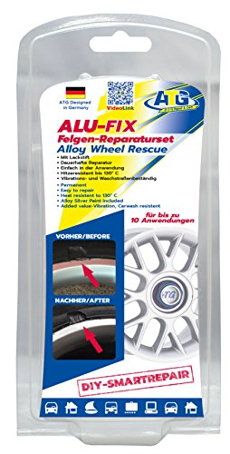 ATG ALU-FIX rim repair set – special filler for surface damages on aluminum rims and steel rims – incl. silver aluminum-metallic touch-up stick – DIY Smart Repair – in 11 parts (Kit Wheel Aluminum Repair)