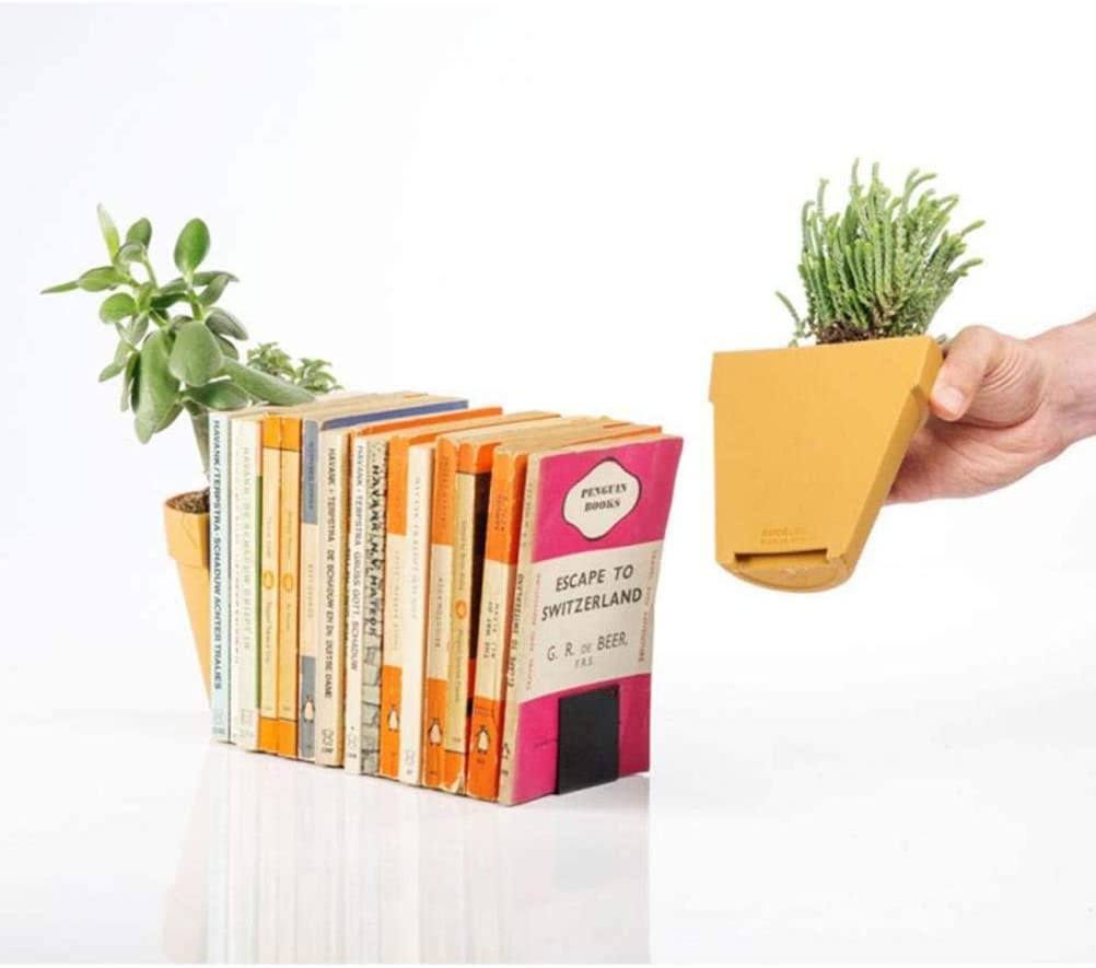 YINLANG Display Bookend Bookshelf Decoration,Creative Bookends with Decorative Artificial Plant Pot Bookshelf Display Organizers for Home Office Decoration