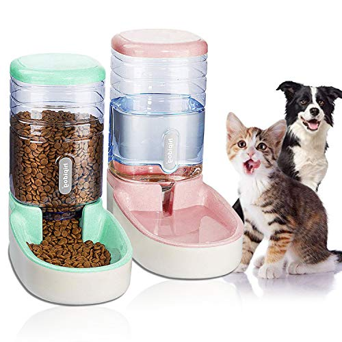 UniqueFit Pets Cats Dogs Automatic Waterer and Food Feeder 3.8 L with 1 Water Dispenser and 1 Pet Automatic Feeder (Pink and Green)