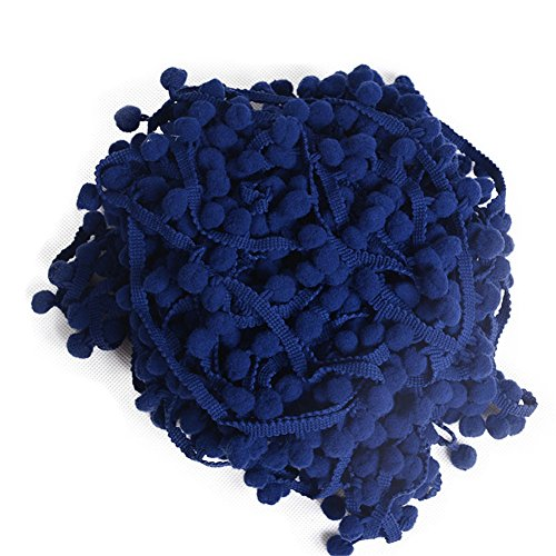 5,10,20 Meters Pom Pom Trim Fringe Ball Edging Decoration Craft 34 Colors B073 (5 Meters, #24 Navy Blue)