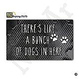 MsMr Doormat Entrance Floor Mat Funny Doormat Indoor/Outdoor/Kitchen Decorative Doormat Non-slip and Non-woven Fabric 30''x18'' - There's, Like A Bunch Of Dogs In Here (Metal Background)