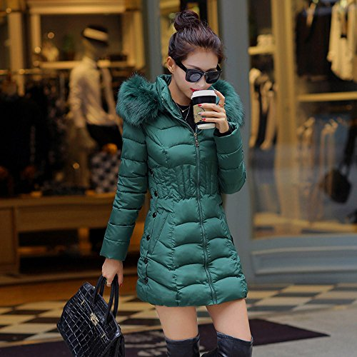 Cappotto Verde Sottile Lungo Casuale Puro Colore Confortevole Caldo Incappucciata Donne Outerwear Cotone Donne Di Cappotto Del Jersh Inverno Di Parka Trincea Modo Rivestimento BwO5g5q