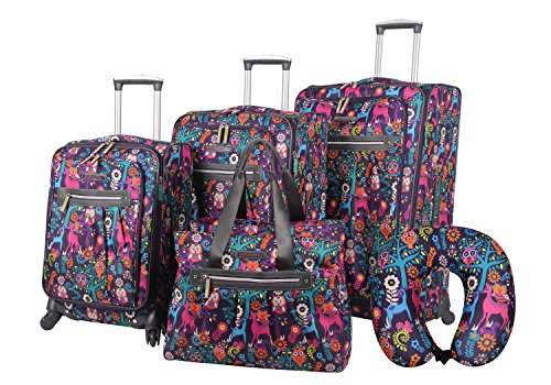 Lily Bloom Luggage Set 5 Piece Suitcase Collection With Spinner Wheels For Woman