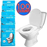 Disposable Toilet Seat Covers, Biodegradable Paper Potty Seat Covers, Flushable, Toilet Covers for Adults Travel Essential, Kids and Toddlers Potty Training 10 Packs (100-Count)