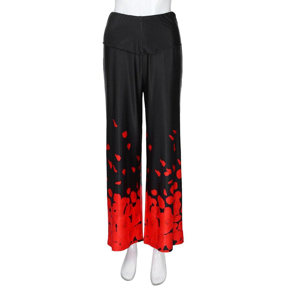 Boho Wide Leg Pants for Women,Plus Size Casual Loose Floral Print Trousers XL-5XL