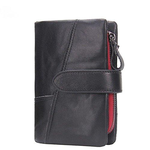 LIGYM Men's leather wallet, casual zipper clasp, short handle, hand held bag, zero wallet,black