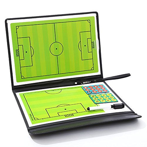 TANCHEN Football Soccer Coaching Board Foldable Strategy Teaching Clipboard With Dry Erase and Marker Pen Tactics Kit (Football Dry Erase Clipboard)