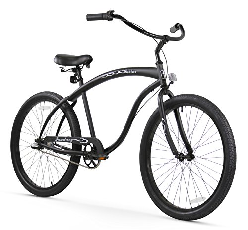 Firmstrong Bruiser Man 3-Speed Beach Cruiser Bicycle, 26-Inch, Matte Black