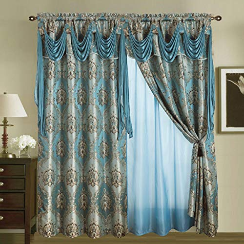 Sapphire Home Jacquard Window 84 Inch Length Curtain Drapes w/Attached Valance Scarf + Sheer Backing + 2 Tassels, Traditional 84
