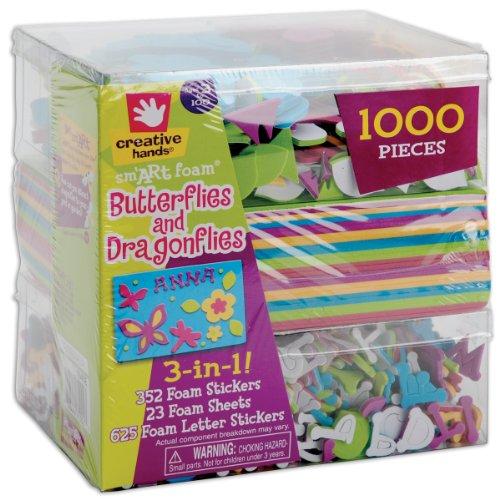 Fibre Craft 3-in-1 Foam Kit, Butterflies/Dragons, 1000 pcs Butterfly Foam