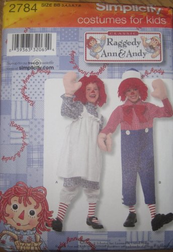 SIMPLICITY PATTERN 2784 TODDLER AND CHILD RAGGEDY ANN AND ANDY COSTUME SIZE BB 3-8 (Toddler Raggedy Ann Costume)