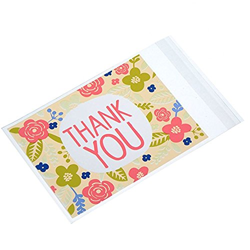 - 200 PCS THANK YOU Pink Flower Cookie Packaging Self-adhesive Plastic Bags for Wedding Party Bakery Party