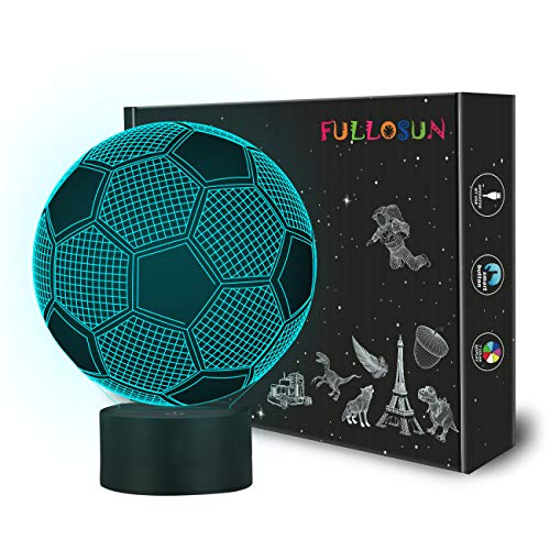 Kids Night Light Football 3D Optical Illusion Lamp with 7 Colors Changing Soccer Birthday Xmas Valentine's Day Gift Idea for Sport Fan Boys Girls