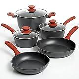 New Home Deal 8 Piece Forged Aluminum Teflon Cookware Set (Crimson)