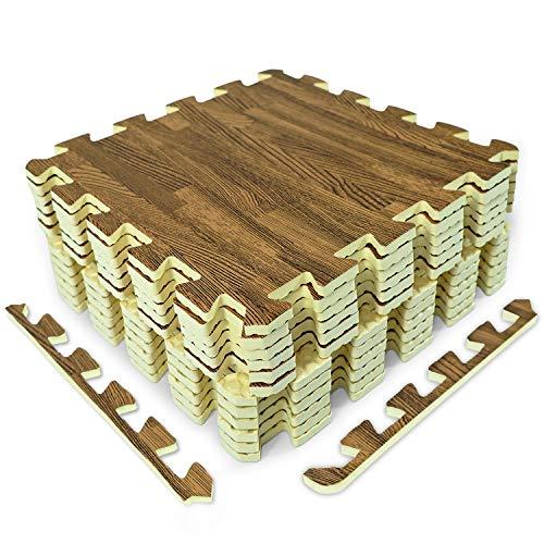 Yes4All Interlocking Floor Mats with Border - Foam Floor Mats/Gym Floor Mats with EVA Interlocking Tiles (12 Square Feet - Oak Wood Dark - 12 Tiles)