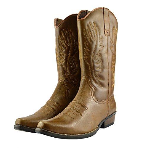 Cowboy Kick Lungo Tan Footwear Tirare Cubano EU40 Caviglia Occidentale Boots 47 Mens Tacco Smart qqxEwBTApr