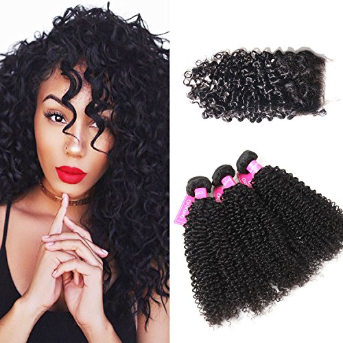 Original Queen 100% Brazilian Unprocessed Virgin Kinky Curly Human Hair Weave 3 Bundles With Closure Deep Curly Hair Extensions Mixed Length 16 18 20inches With 16inches Free Part Closure by ORIGINAL QUEEN